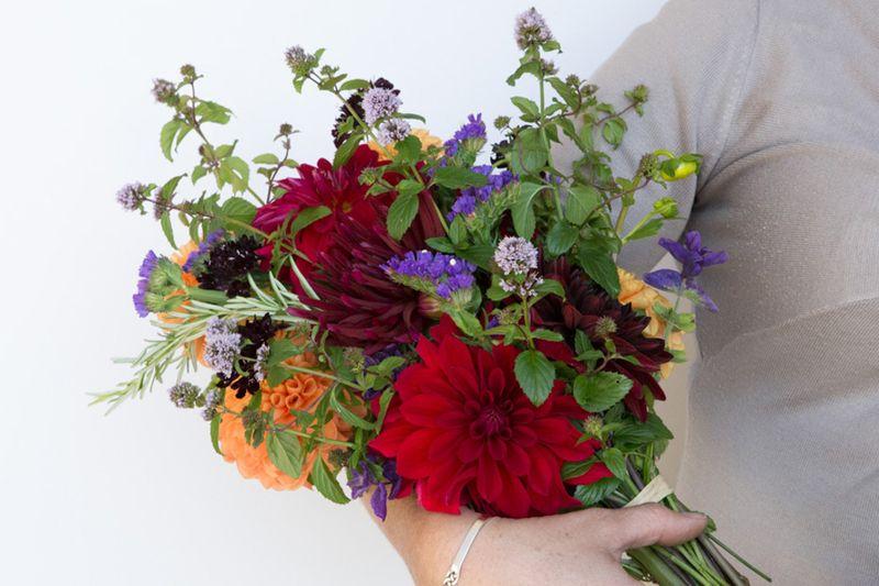 Basil mint in bouquet