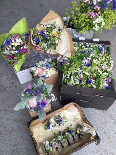 June wedding paeonies and roses